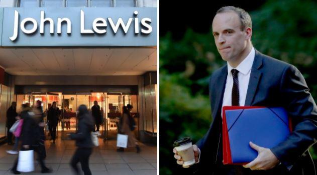 John Lewis profits plunge 99% but Dominic Raab says 'don't blame Brexit'
