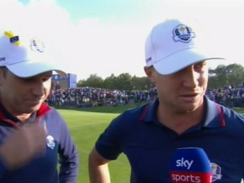 Alex Noren tears up after he leads Europe to first ever Ryder Cup fourseomes clean sweep