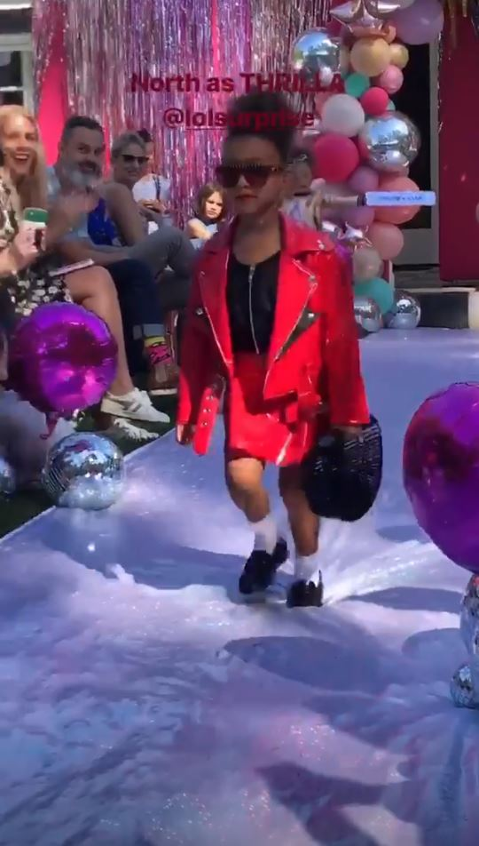 Kim Kardashian shared a hilarious clip of North West on the runway (Picture: Instagram)