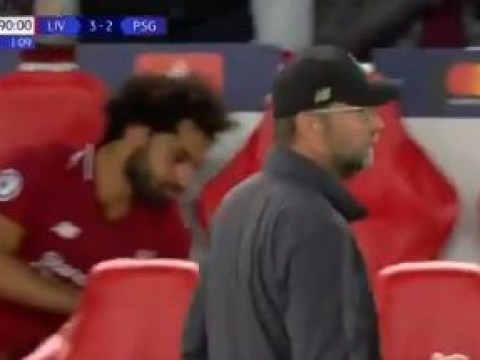 Mohamed Salah throws water bottle after Roberto Firmino scores late winner for Liverpool