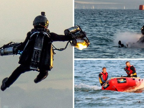 Daredevil in James Bond-style jet pack crashes after equipment catches on fire
