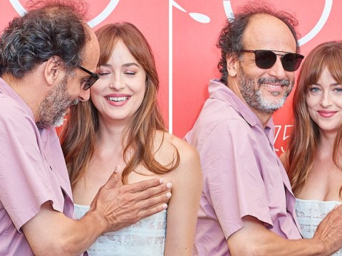 Dakota Johnson in awkward moment with director Luca Guadagnino as he prevents dress slippage