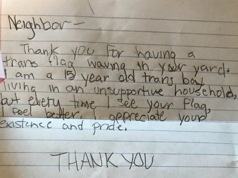 Transgender teen writes heartbreaking note thanking neighbour for support