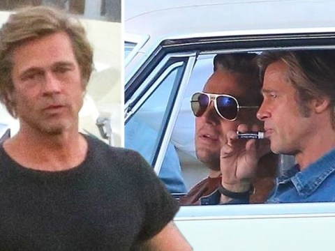 Brad Pitt just loves a bit of cherry Chapstick as he films new movie with Leonardo DiCaprio