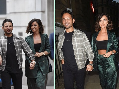 Ryan Thomas walks hand in hand with Lucy Mecklenburgh as he's welcomed home to Manchester after winning CBB