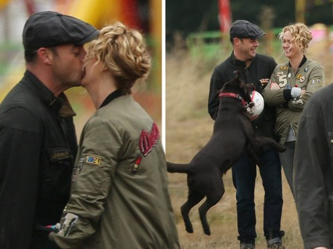 Ant McPartlin seen kissing girlfriend Anne-Marie for the first time as dog Hurley tries to interrupt