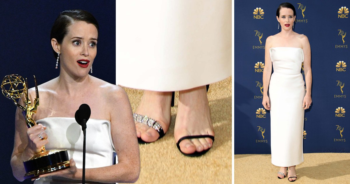 Claire Foy rocks the internet by wearing odd shoes to the Emmys