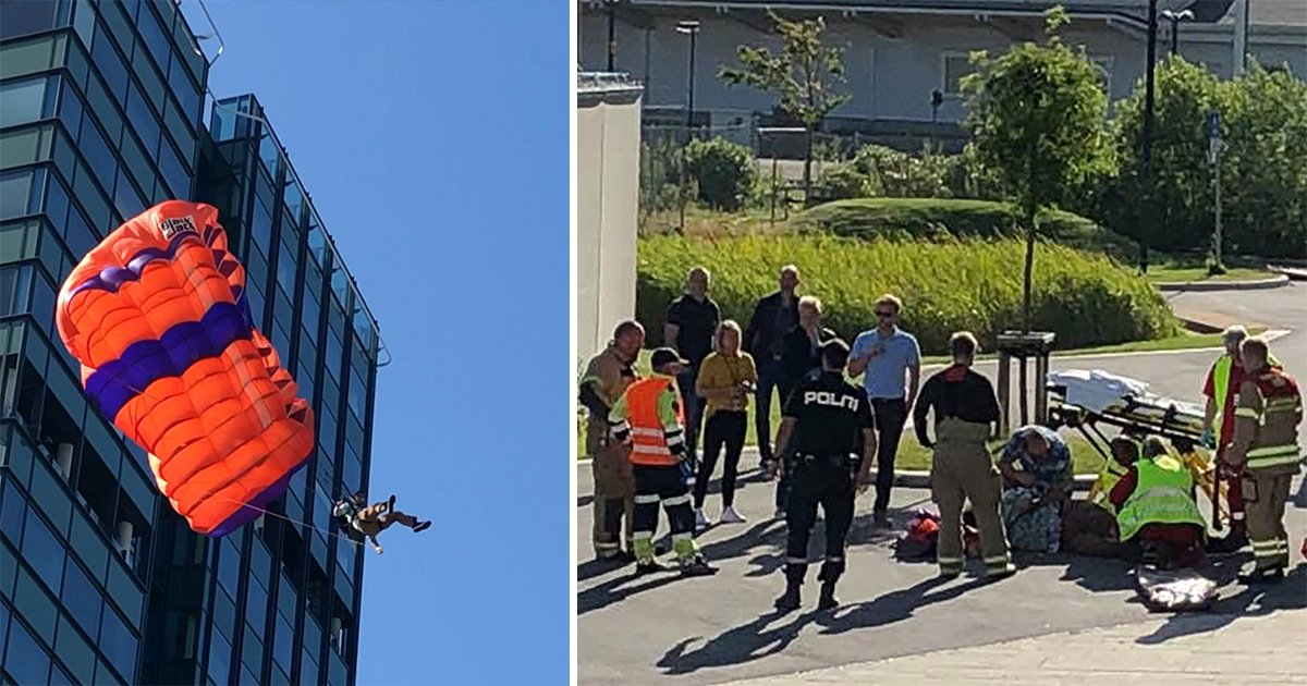 Shocking footage of the moment a base jump goes wrong