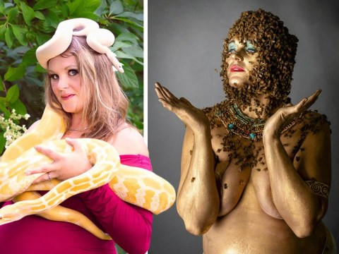 Mum poses with 16,000 honeybees for extreme maternity shoot
