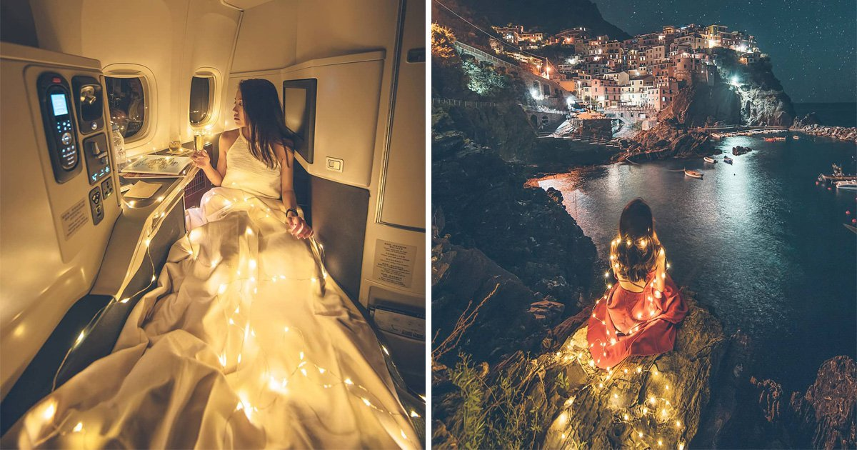 People are making fun of this Instagram influencer for posing with fairy lights on a flight