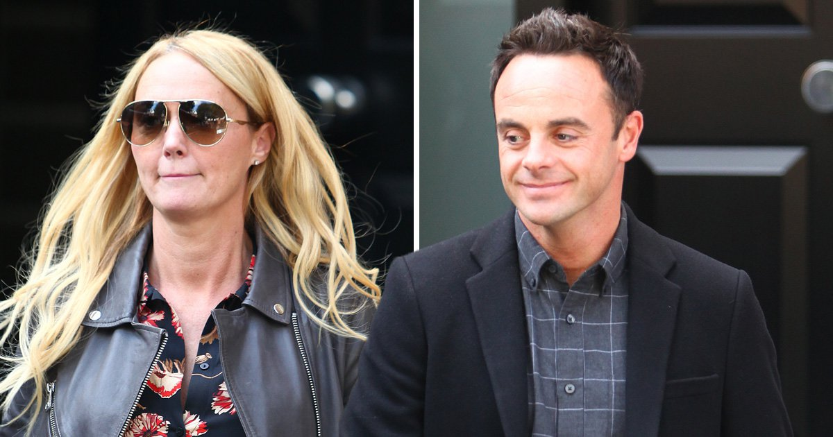 Ant McPartlin is all smiles as he visits Declan Donnelly with girlfriend Anne-Marie Corbett
