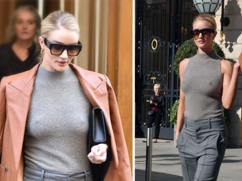 Rosie Huntington-Whiteley ditches the bra for meeting with Vivienne Westwood at Paris Fashion Week