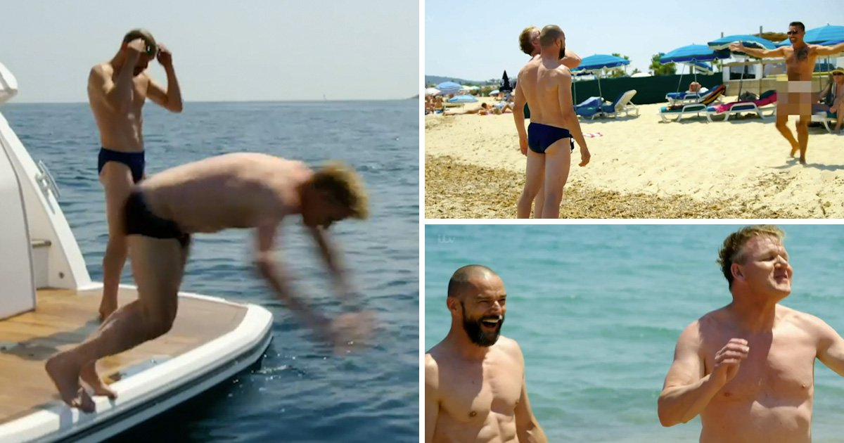 Gino D'Acampo strips completely naked as he joins Gordon Ramsay and Fred Sirieix for beach trip