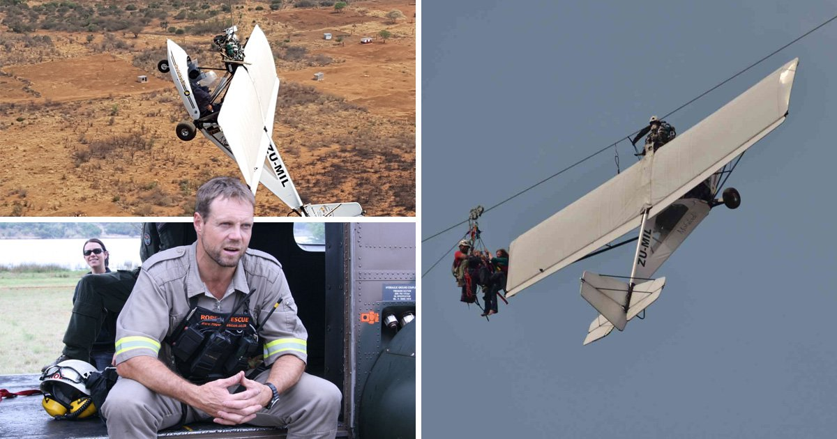 Hero mountain guide pulls couple from crashed plane as it dangles from zip wire