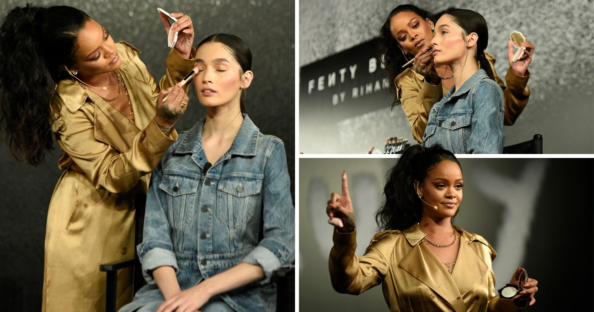 Rihanna is centre of attention at Fenty party as she shows off makeup techniques
