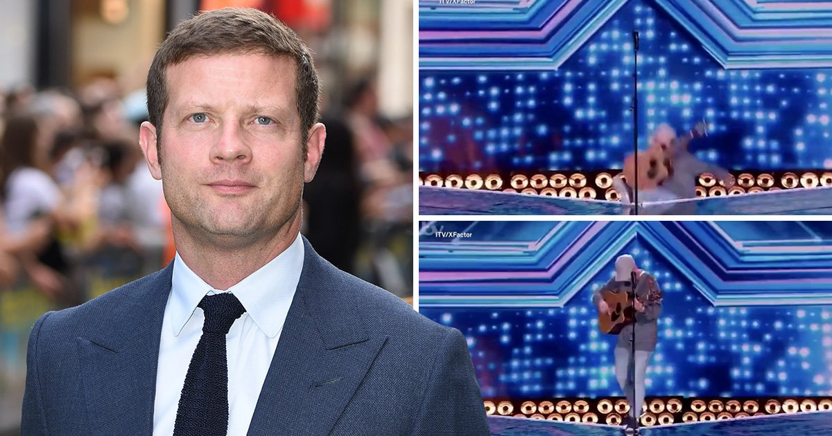 Dermot O'Leary tries to save X Factor contestant who takes a tumble on stage