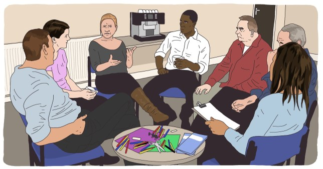 *** ILLUSTRATION REQUEST*** Yvette Caster: What happened when I attended my first bipolar support group meeting