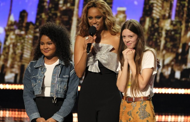 "AMERICA'S GOT TALENT -- ""Live Quarter Finals Results 1"" Episode 1312 -- Pictured: (l-r) Amanda Mena, Tyra Banks, Courtney Hadwin -- (Photo by: Justin Lubin/NBC/NBCU Photo Bank via Getty Images)"