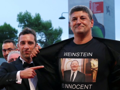Italian director flashes 'Weinstein is innocent' t-shirt at Venice Film Festival