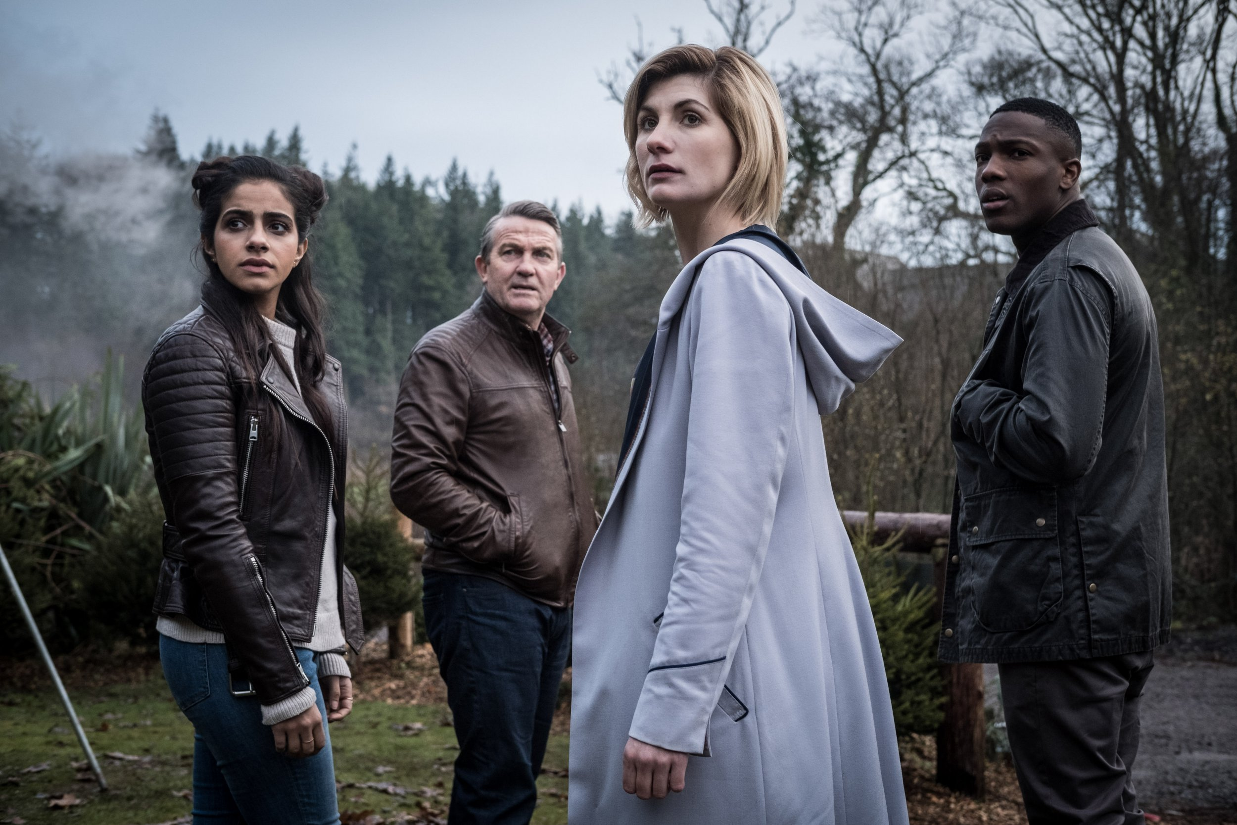 Television programme, 'Dr Who', TX BBC Yaz (MANDIP GILL), Graham (BRADLEY WALSH), The Doctor (JODIE WHITTAKER), Ryan (TOSIN COLE) - (C) BBC / BBC Studios - Photographer: Giles Kyte WARNING: Embargoed for publication until 00:00:01 on 18/07/2018 - Programme Name: Doctor Who Series 11 - TX: n/a - Episode: July Preview (No. n/a) - Picture Shows: **Strictly Embargoed until 18/07/2018 00:00:01** Yaz (MANDIP GILL), Graham (BRADLEY WALSH), The Doctor (JODIE WHITTAKER), Ryan (TOSIN COLE) - (C) BBC / BBC Studios - Photographer: Giles Kyte