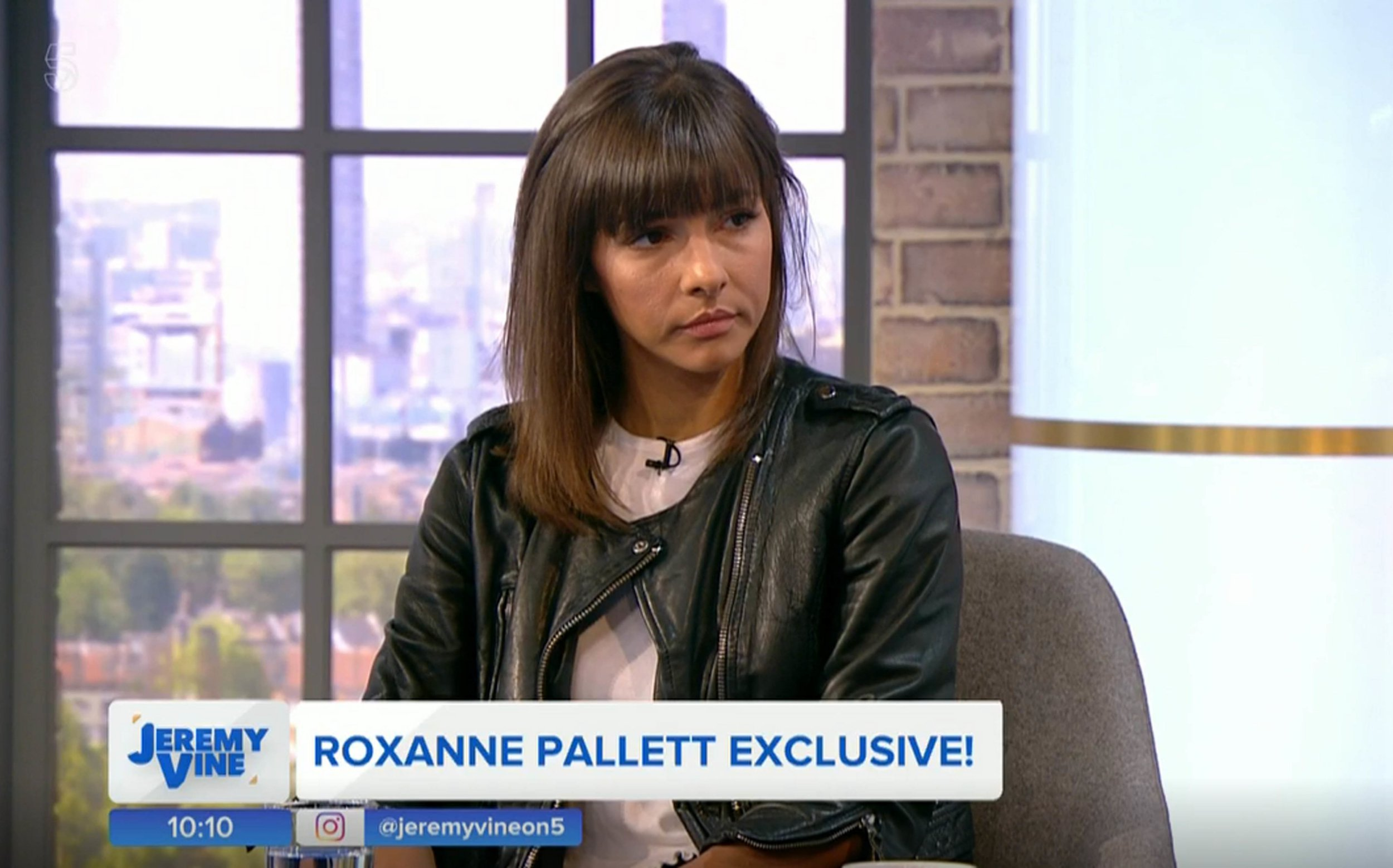 "Undated handout photo issued by Channel 5 of Roxanne Pallett, giving her first interview since leaving the Celebrity Big Brother House, during the launch of Channel 5 current affairs show Jeremy Vine. Pallett has said she ""got it wrong"" after she claimed that actor Ryan Thomas punched her in the Celebrity Big Brother house. PRESS ASSOCIATION Photo. Issue date: Monday September 3, 2018. Speaking on Channel 5's Jeremy Vine, the former Emmerdale star said: ""At the time it hurt. But when I looked back on that footage as soon I left the house - the first thing I did was view that clip - and I got it wrong, I really got it wrong."" See PA story SHOWBIZ Pallett. Photo credit should read: Channel 5/PA Wire NOTE TO EDITORS: This handout photo may only be used in for editorial reporting purposes for the contemporaneous illustration of events, things or the people in the image or facts mentioned in the caption. Reuse of the picture may require further permission from the copyright holder."