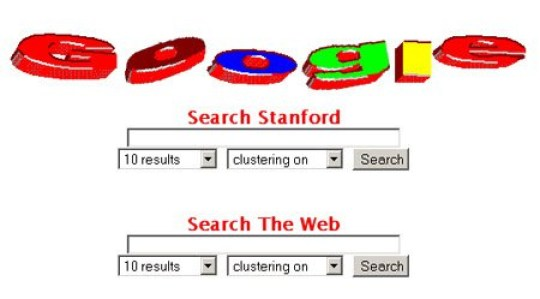 epa06994620 A undated handout photo made available by Google LLC on 03 September 2018, showing an old Google-logo and an early layout of a search field of Google start site - making it possible to search only Stanford websites or the whole web. Google marks its 20th anniversary on 04 September 2018, the date in 1998 when Google founders Larry Page and Sergey Brin incorporated the company. The stock market value of Alphabet (parent company of Google) currently is 688 billion USD. EPA/GOOGLE LLC HANDOUT HANDOUT EDITORIAL USE ONLY/NO SALES