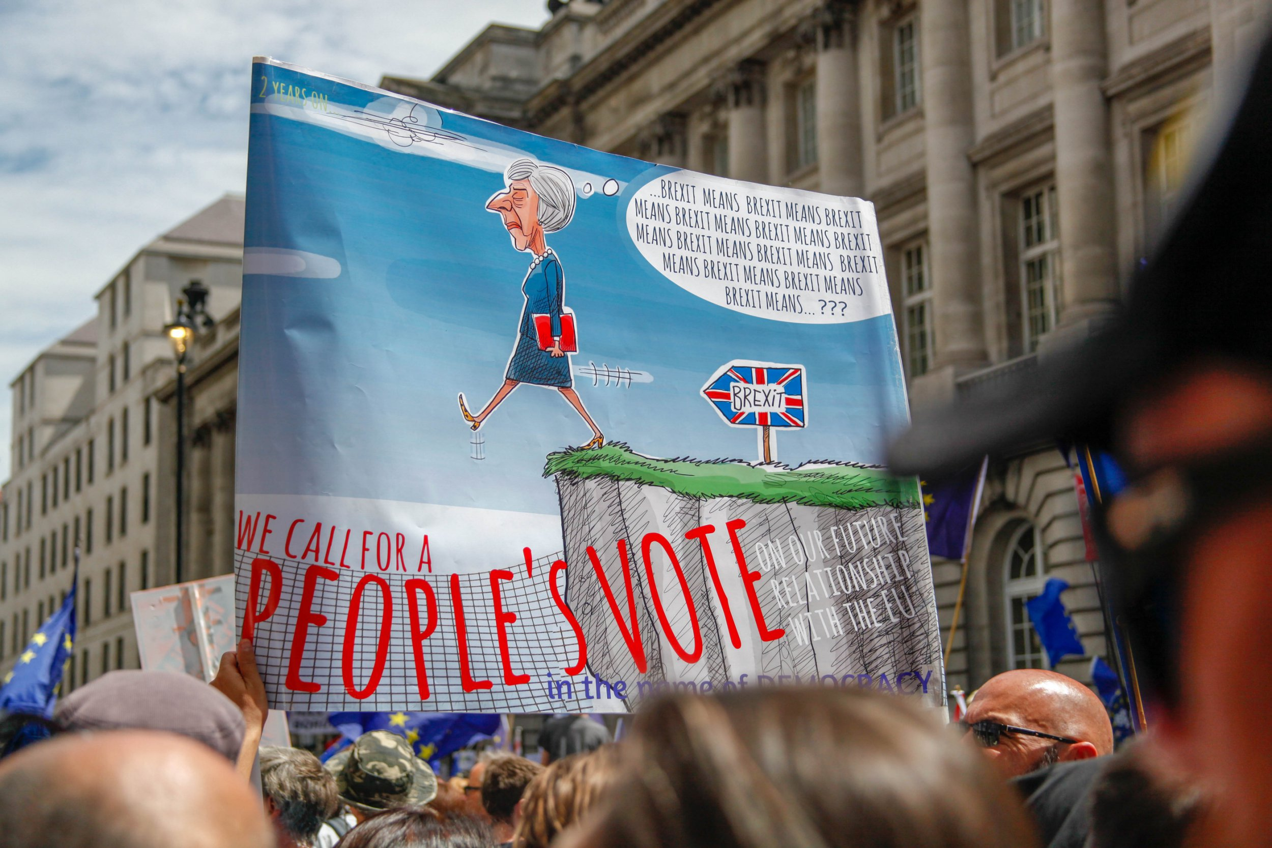 Protestors march during the People's Vote demonstration against Brexit on June 23, 2018 in London, England. On the second anniversary of the 2016 Brexit referendum, the People's Vote Campaign organised a march to Parliament calling for a People's Vote on the final draft of the EU Withdrawal Bill. (Photo by Alex Cavendish/NurPhoto/Sipa USA)