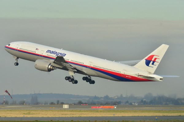 Photograph of the missing aircraft taking off at Roissy-Charles de Gaulle Airport (LFPG) in France on 26 December 2011 Malaysia Airlines Boeing 777-200ER (9M-MRO) Credit: Laurent ERRERA/Wikimedia Source: https://commons.wikimedia.org/wiki/File:Boeing_777-200ER_Malaysia_AL_(MAS)_9M-MRO_-_MSN_28420_404_(9272090094).jpg