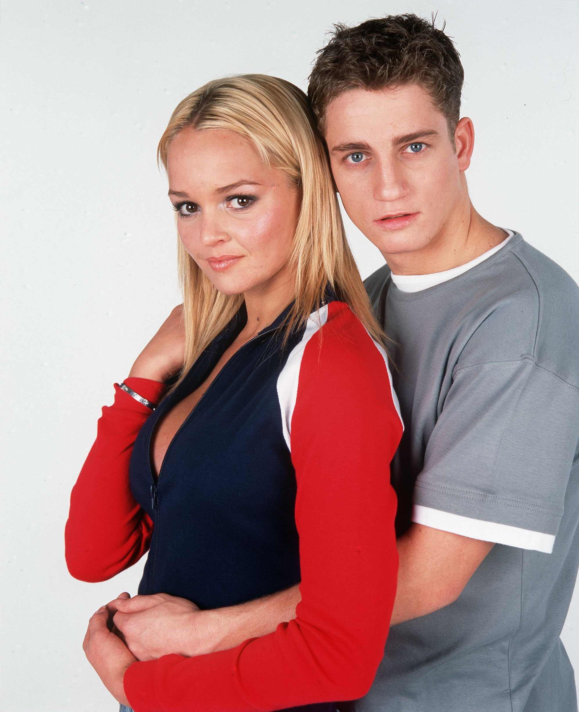 Mandatory Credit: Photo by IPC MAGAZINES: WHATS ON TV/REX/Shutterstock (341751t) JENNIFER ELLISON AND PHILIP OLIVIER BROOKSIDE TV STUDIO PORTRAIT - 2001