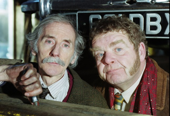 """Editorial Use Only. No merchandising Mandatory Credit: Photo by ITV/REX/Shutterstock (9069091w) Peter Benson (as Bernie Scripps) and Geoffrey Hughes (as Vernon Scripps) """"Heartbeat"""" TV Series - 2001 Heartbeat is a British police drama series set in 1960s North Riding of Yorkshire and was broadcast on ITV in 18 series between 1992 and 2010. It was made by ITV Yorkshire and was originally conceived as a vehicle for actor Nick Berry, on whom early series centred. This set of images are from Series 10, Episode 19 - 'Killing Me Softly' (Tx 4th March 2001)"""