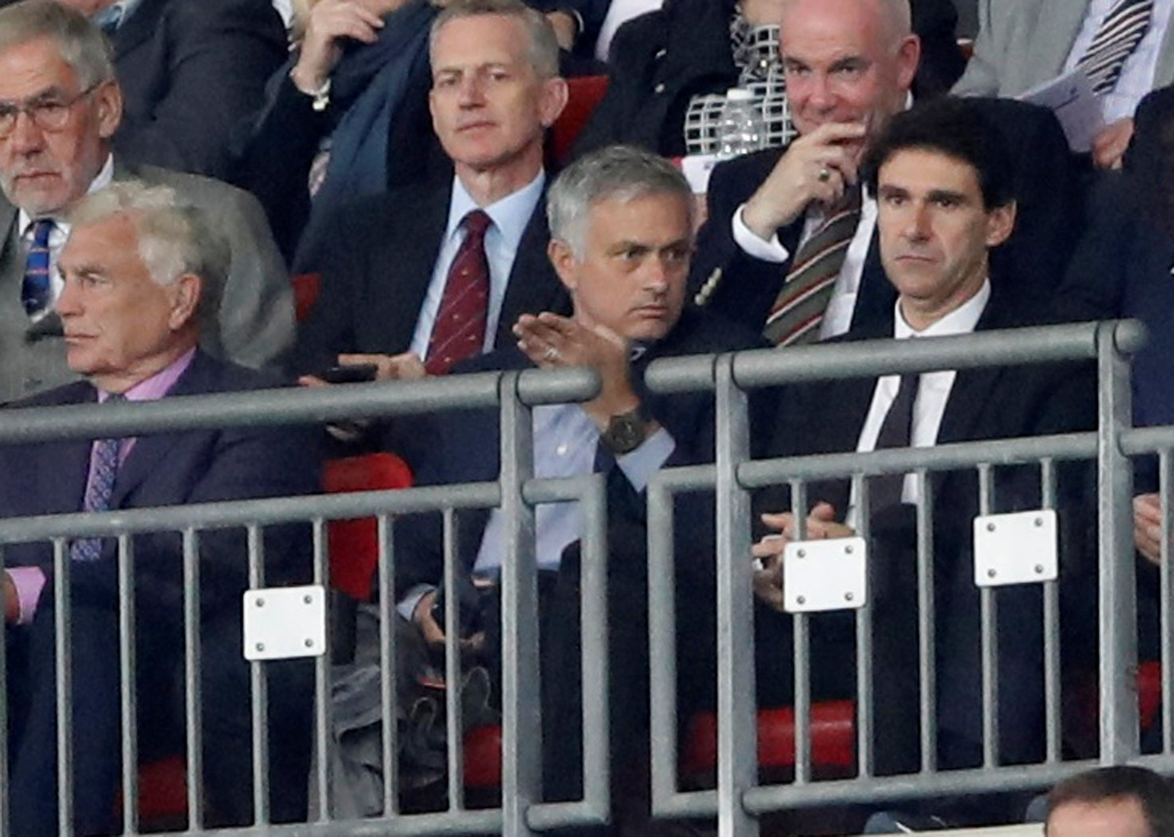 Soccer Football - UEFA Nations League - League A - Group 4 - England v Spain - Wembley Stadium, London, Britain - September 8, 2018 Sir Trevor Brooking, Manchester United manager Jose Mourinho and Nottingham Forest manager Aitor Karanka in the stand Action Images via Reuters/Carl Recine