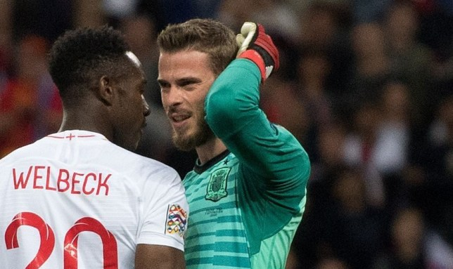 Mandatory Credit: Photo by Sandra Mailer/REX (9874859at) Danny Welbeck has words with David De Gea England v Spain, UEFA Nations League Group A4, International Football, Wembley Stadium, London, UK - 08 Sep 2018