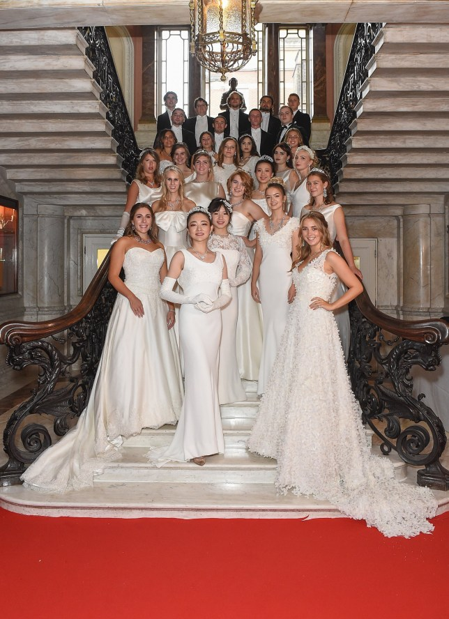 LONDON, ENGLAND - SEPTEMBER 08: Debutantes and their escorts pose for a picture ahead of the 240th Anniversary Queen Charlotte's Ball which took place at Dartmouth House on September 8, 2018 in London, England. (Photo by Tabatha Fireman/Getty Images)