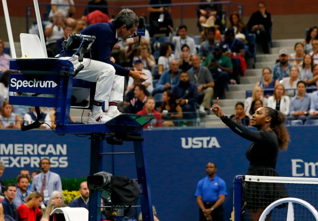 (FILES) In this file photo taken on September 8, 2018 Serena Williams of the US argues with chair umpire Carlos Ramos while playing Naomi Osaka of Japan during their 2018 US Open women's singles final match in New York. - Serena Williams has been fined $17,000 by the US Tennis Association in the wake her outburst during a controversial US Open final loss to Japan's Naomi Osaka. The American star was fined for coaching, racquet abuse and for verbal abuse when she accused umpire Carlos Ramos of being