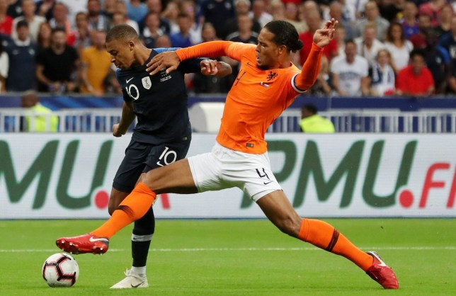 Mandatory Credit: Photo by Paul Currie/BPI/REX (9877804fg) Kylian Mbappe of France and Virgil van Dijk of Netherlands France v Netherlands, UEFA Nations League, Football, Stade De France, Paris, UK - 09 Sep 2018