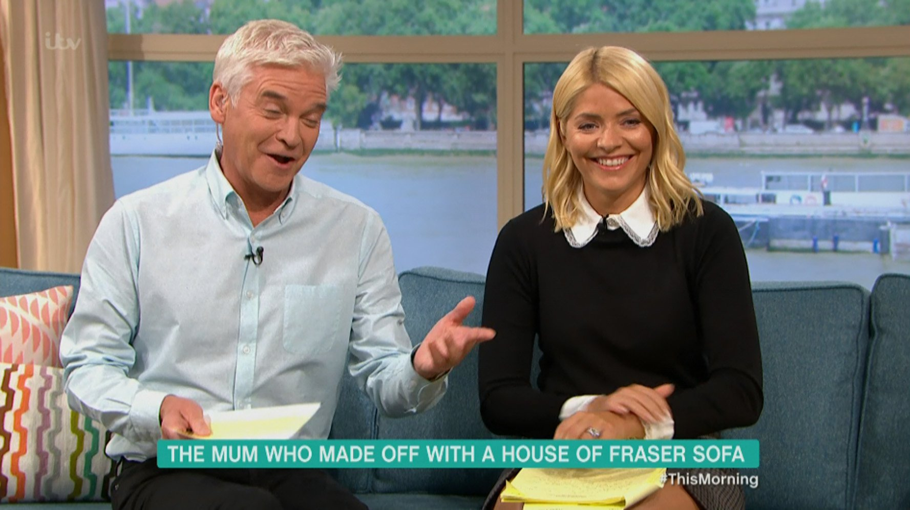 """****Ruckas Videograbs**** (01322) 861777 *IMPORTANT* Please credit ITV for this picture. 10/09/18 This Morning - ITV1 Grabs from this morning's show which saw a woman called Fiona Boston being interviewed by Phillip Schofield and Holly Willoughby on the sofa that she and her family carried out of House of Fraser after she paid for it but was left without it after the chain went into administration. Fiona was joined by consumer expert Alice Beer who said she couldn't condone Fiona's actions and it was illegal but had to admit she loved it. Phillip had to tell Fiona off for repeatedly swearing (saying """"bloody"""") but told Holly that she was his favourite guest in a long time and that he was sad that she had taken the sofa back home with her after the show returned from an advert break following her interview. Office (UK) : 01322 861777 Mobile (UK) : 07742 164 106 **IMPORTANT - PLEASE READ** The video grabs supplied by Ruckas Pictures always remain the copyright of the programme makers, we provide a service to purely capture and supply the images to the client, securing the copyright of the images will always remain the responsibility of the publisher at all times. Standard terms, conditions & minimum fees apply to our videograbs unless varied by agreement prior to publication."""