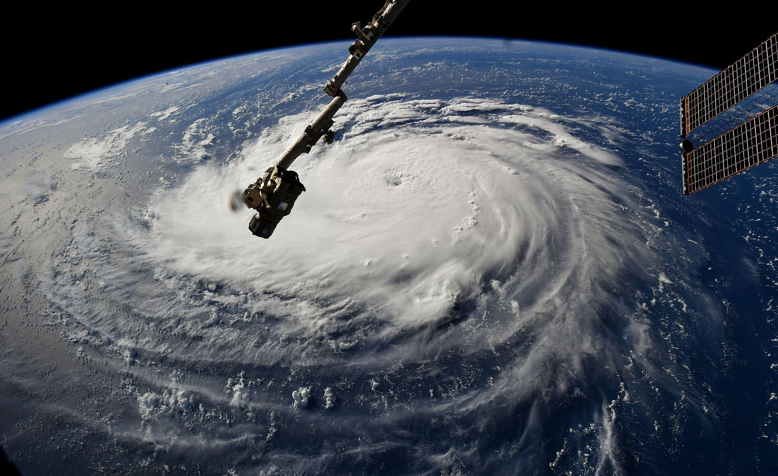 Mandatory Credit: Photo by NASA/ZUMA Wire/REX (9878973e) U.S. - This photo provided by NASA shows Hurricane Florence from the International Space Station on Monday, as it threatens the U.S. East Coast. Florence has exploded into a potentially catastrophic Category 4 hurricane Monday as it is closing in on North and South Carolina with winds of up to 130 mph. Hurricane Florence - 10 Sep 2018