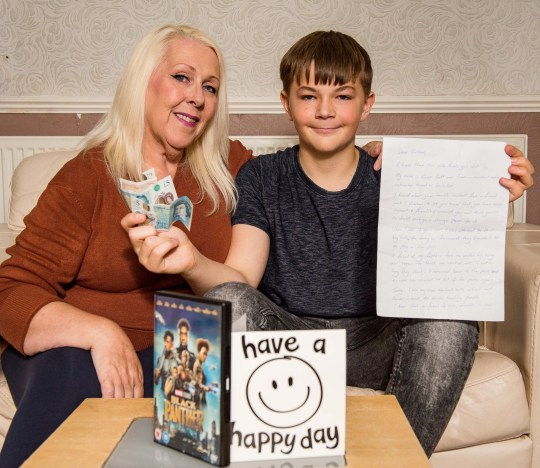 PICS BY CATERS NEWS AGENCY - (PICTURED: Callum with mum Wendy - Since the video was shared online, a campaign has been launched by the Celebrate Life Guild for strangers to send him encouraging messages so far, hes received money, a DVD and free one-to-one martial arts lessons.) - A schoolboy who is too terrified to leave the house alone after a filmed attack by TERROR TEENS has received well-wishing cards and gifts from kind strangers. In footage from March, a hooded male jumps out the car before repeatedly kicking and punching Callum Patterson, 14, until he falls to the floor crying. The group then drive away yelling offensive obscenities at the boy who remains lying on the road. Since the attack, mum Wendy Jones, 57, from Oldham near Manchester, claims her son no longer feels safe outside without her or his father being with them. - SEE CATERS COPY
