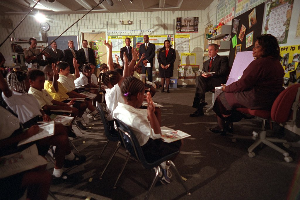 President George W. Bush participates in a reading demonstration the morning of Tuesday, Sept. 11, 2001, at Emma E. Booker Elementary School in Sarasota, Fla. Photo by Eric Draper, Courtesy of the George W. Bush Presidential Library