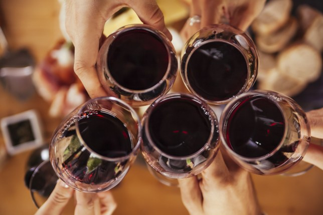 Mandatory Credit: Photo by REX/Shutterstock (8565250a) MODEL RELEASED Friends clinking red wine glasses VARIOUS