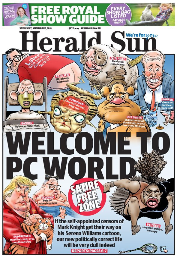 This photo illustration shows the front page of the Herald Sun newspaper, featuring a cartoon of US tennis player Serena Williams