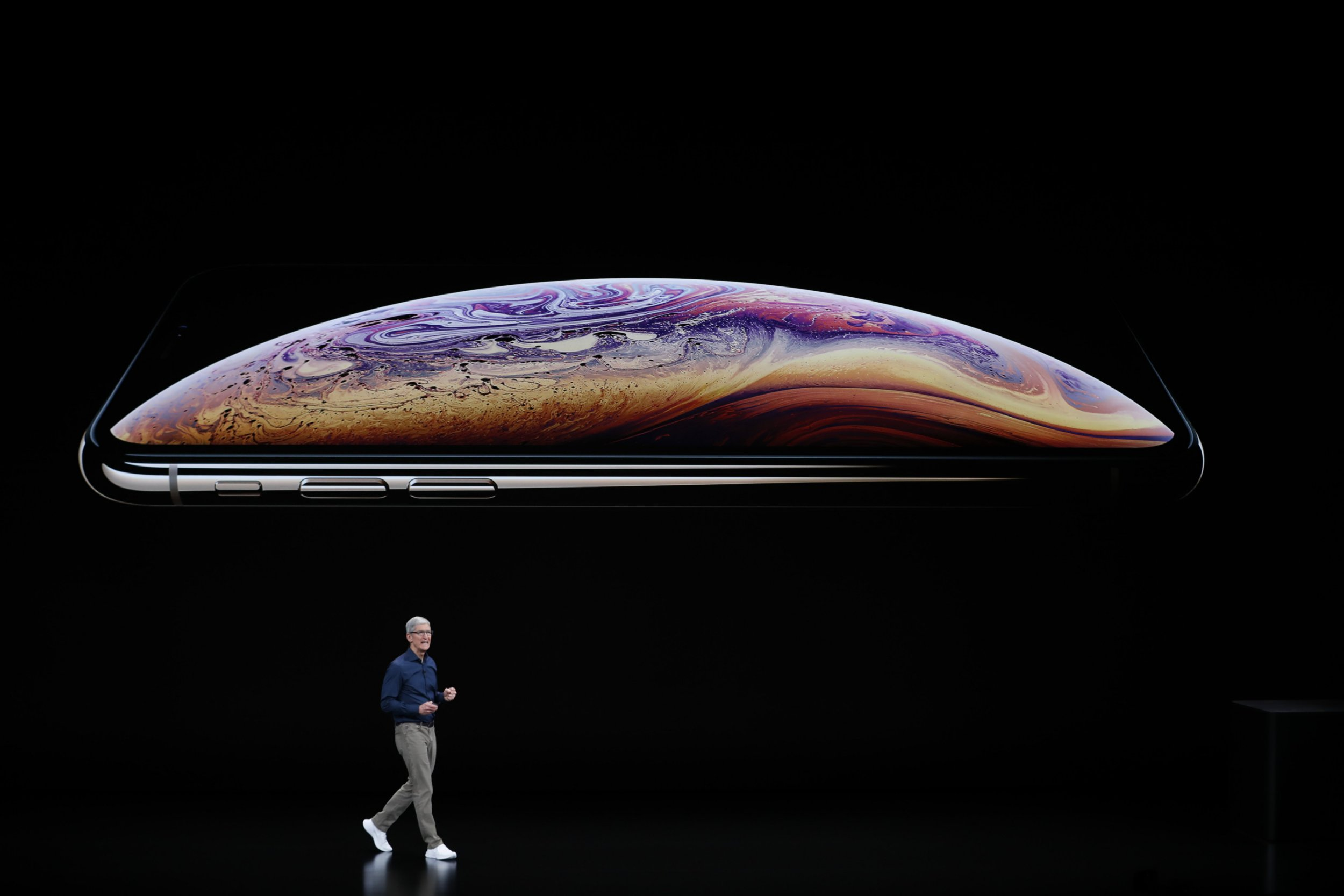 Tim Cook, CEO of Apple, speaks about the iPhone XS and XS Max at an Apple Inc product launch event at the Steve Jobs Theater in Cupertino, California, U.S., September 12, 2018. REUTERS/Stephen Lam