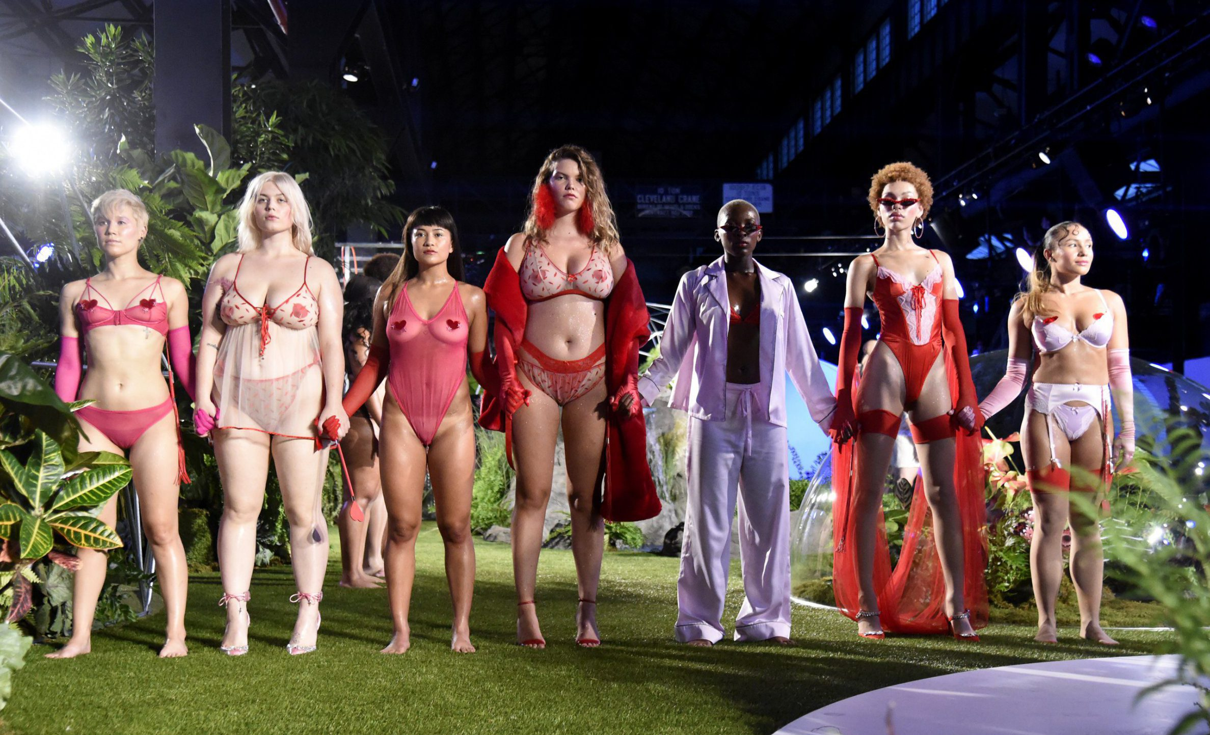 BROOKLYN, NY - SEPTEMBER 12: Models walk the runway for the Savage X Fenty Fall/Winter 2018 fashion show during NYFW at the Brooklyn Navy Yard on September 12, 2018 in Brooklyn, NY. (Photo by Kevin Mazur/Getty Images for Savage X Fenty)