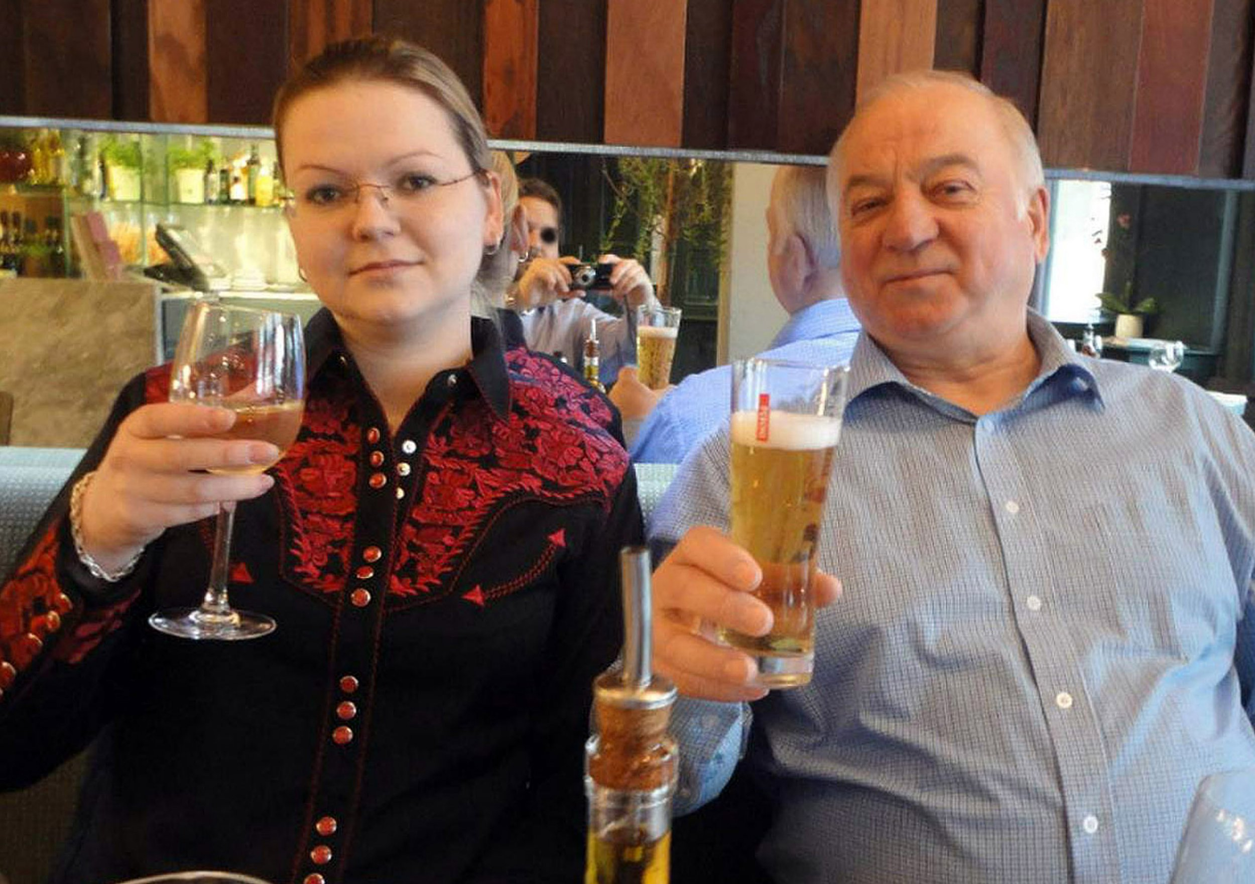 Pic shows: Sergei and Yulia Skripal photographed having a meal apparently in the UK - possibly Zizzi restaurant Pic supplied: Pixel8000 Ltd