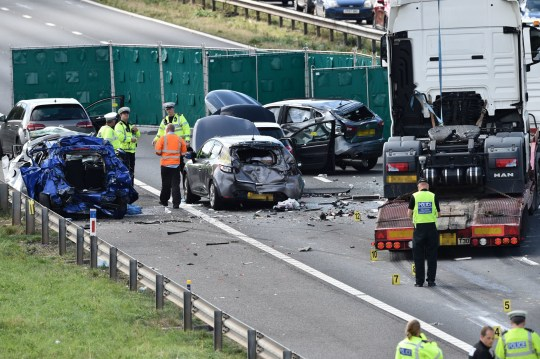 Two dead and four injured in M5 crash involving lorry and