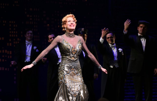 "NEW YORK, NY - APRIL 10: Marin Mazzie during the Broadway Opening Night Performance Curtain Call for ''Bullets Over Broadway'"" at the St. James Theatre on April 10, 2014 in New York City. (Photo by Walter McBride/Getty Images)"