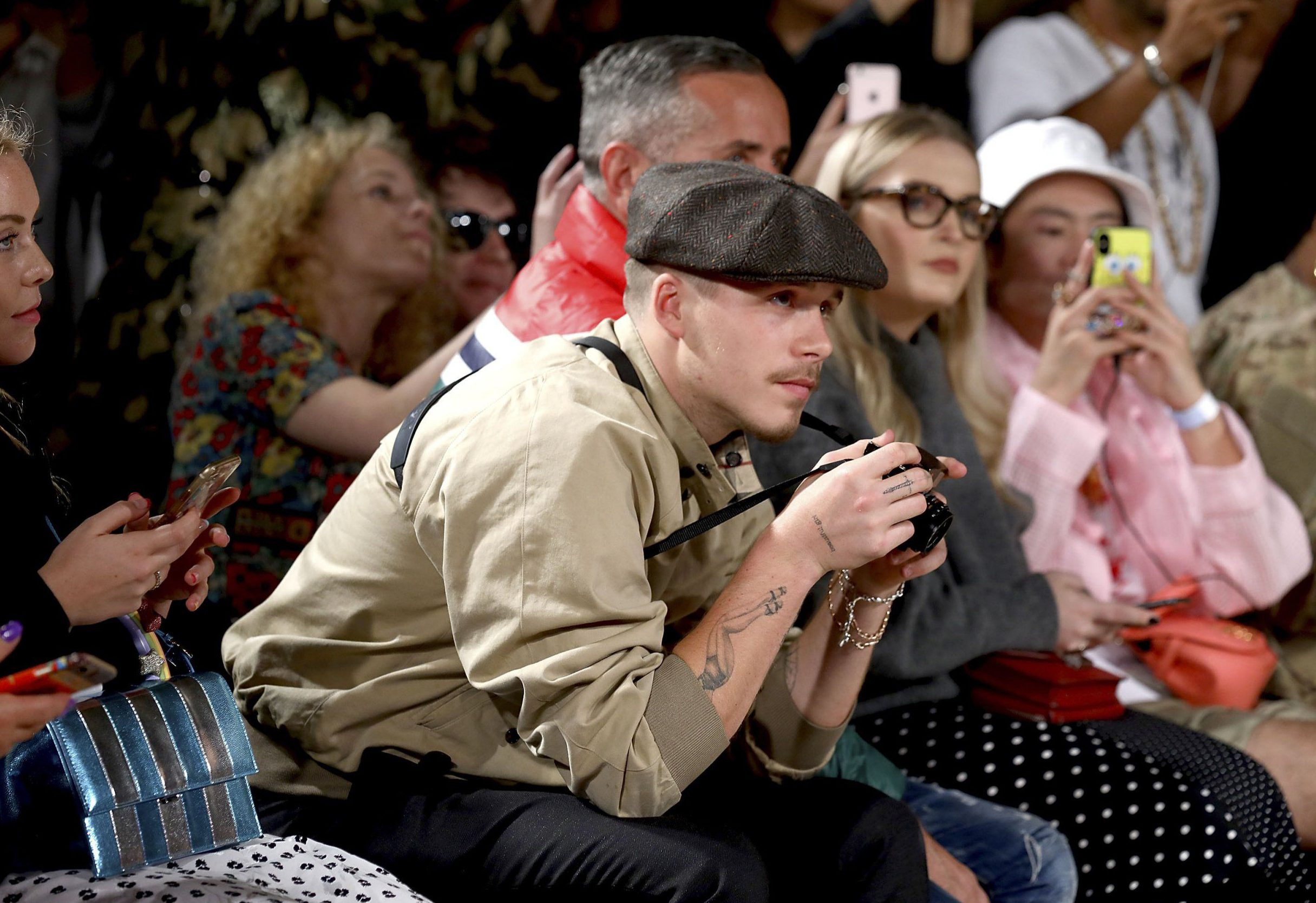 LONDON, ENGLAND - SEPTEMBER 14: Brooklyn Beckham attends the Pam Hogg Show during London Fashion Week September 2018 at Freemasons Hall on September 14, 2018 in London, England. (Photo by Tim Whitby/BFC/Getty Images)