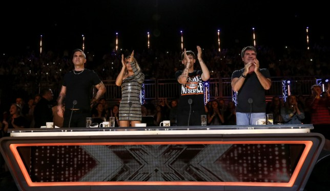 STRICT EMBARGO - NO USE BEFORE 21:00GMT SATURDAY 15TH SEPTEMBER 2018. EDITORIAL USE ONLY - NO MERCHANDISING. Mandatory Credit: Photo by Dymond/Thames/Syco/REX (9882567l) Robbie Williams, Ayda Williams, Louis Tomlinson and Simon Cowell 'The X Factor' TV show, Series 15, Episode 5, UK - 15 Sep 2018