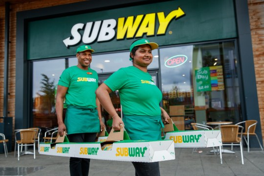 e6e5a1beb139a Subway Sandwich Artists Justin Pringle and Yasoda Jayaweera deliver a BMT  Giant Sub to the wedding