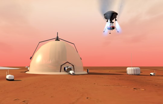 VIDEO AVAILABLE: info@cover-images.com Is this life on Mars? Humans living in a 3-metre-thick igloo? Scientists at Switzerland's ??cole Polytechnique F??d??rale de Lausanne (EPFL) have mapped out the steps required to build a self-sustaining research base on Mars that would be habitable for the long term. Their work can help researchers set priorities for space programs exploring Mars as well as the solar system as a whole. If there was ever life on Mars, its traces are most likely to be found at the planet???s poles. Or more specifically, in its polar layered deposits, which are layers of ice and dust that have built up over thousands of years. So, according to a team of EPFL scientists, the poles would be the most logical place to set up a research base and, potentially, colonies. This team has mapped out a step-by-step strategy along with the required technology to build a research base on Mars that would be self-sustaining and that could accommodate a long-term manned presence. The results of their work will soon be published in Acta Astronautica and was presented this month (September) at the Entretiens Internationaux du Tourisme du Futur conference in Vixouze, France. ???The poles may pose more challenges in the beginning, but they are the best location for the long term since they harbor natural resources that we may be able to use,??? says Anne-Marlene R??ede, lead author of the study and a student minoring in Space Technology at EPFL???s Space Engineering Center (eSpace). And even though the scientists are thinking well into the future ??? colonies that would be developed over several generations ??? they still went into great detail in their design. ???We wanted to develop a strategy based on technologies that have been selected accordingly and outline a test scenario so that 20 years from now, astronauts will be able to carry out this kind of space mission,??? she adds. First the base, then the crew The EPFL scientists??? strategy involves sending a
